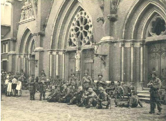 September 18 1944 liberation of Eindhoven, in front of  Saint Catherinachurch